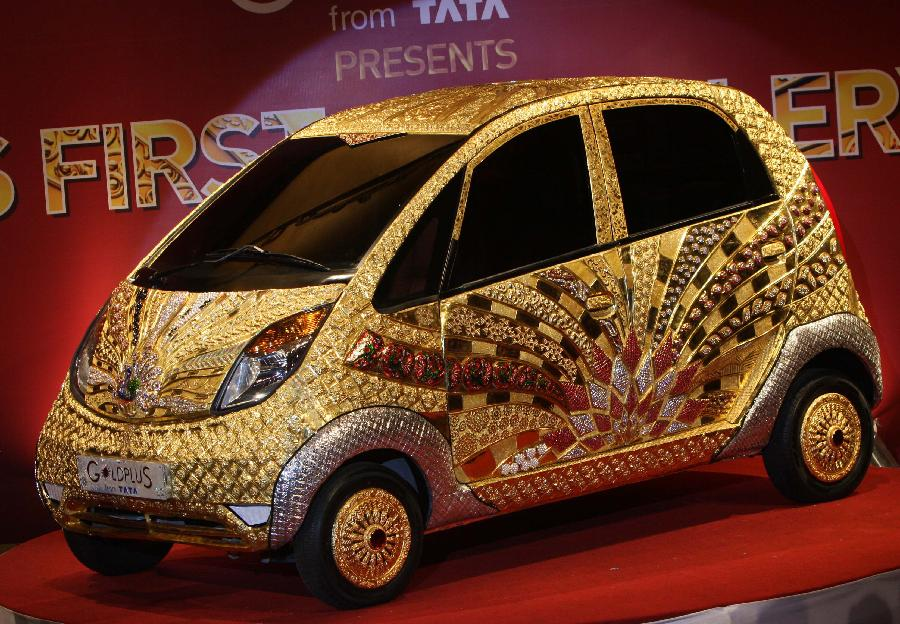 The World's first Gold jewellery car,  80kg of 22 Karat gold, claimed by Tata.