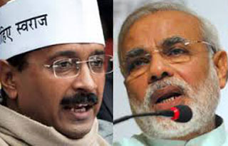 Arvind Kejriwal leader Am admi ( Common Man) party and Narendra Modi Indian Prime Minister.