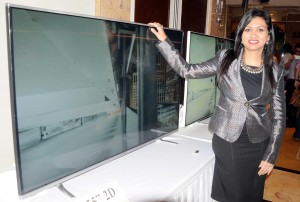 CEO and Design Head of VU Televisions Devita Saraf at the launch of VU 4K Ultra HD TV's in New Delhi on Sept 11, 2014. (Photo: IANS)
