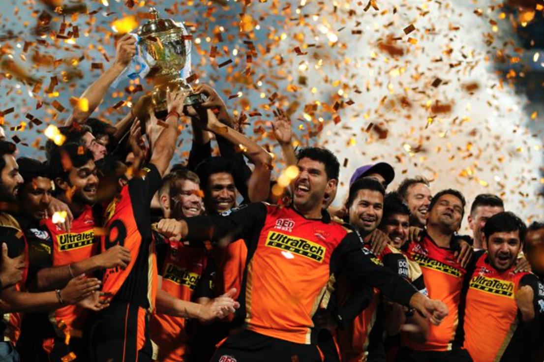 Sunrisers Hyderabad lifting IPL 2016 trophy