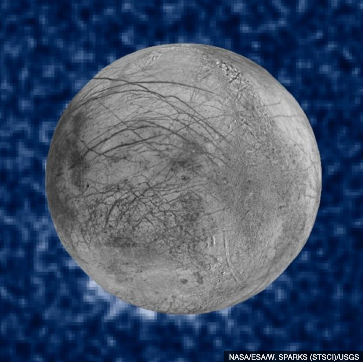Suspected plumes of water erupting at the 7 o'clock position at the Saturn;s icy moon Europa.