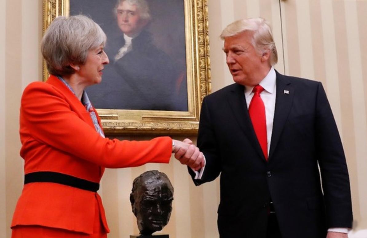 Theresa May meeting President Trump