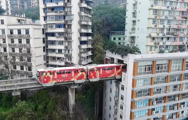 Train through block of flats