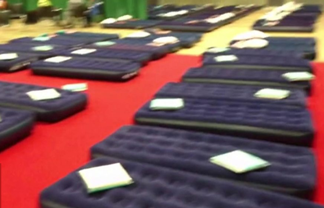 Air bed for evacuated residents of tower block
