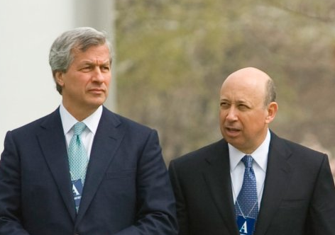 JP Morgan chase CEO Jamie DAmion and Lloyd Blankfein Goldman Sachs CEO