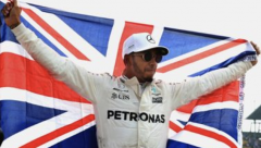 Victorious Lewis Hamilton after winning his fourth title