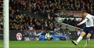Jamie Vardy scoring an early goal for England