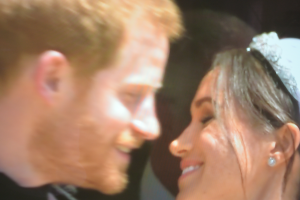 Harry and Meghan about to kiss