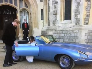 In the evening the couple left Windsor Castle in Jaguar E type.