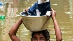 A pet being rescued in Kerala floods