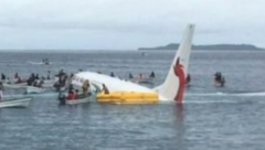 Air Niugini overshot the runaway and crashd in a lagoon