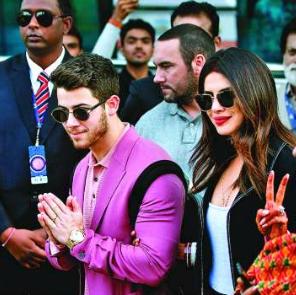 Nick Jonas and Priyanka Chopra at Isha Ambani pre wedding party at Udaipur