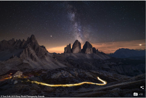 Tam Erdt from Germany shot the sunrise at Tre Cime di Lavaredo in northeastern Italy and waited for Milky Way.