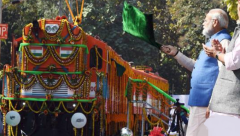 Indian Prime Minister Narendra Modi flagging off World's first Diesel to electric train