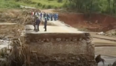 Timber factory workers stranded after a road was washed away in Chimanimani, eastern Zimbawe