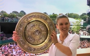Simona Halep lifting the Women's Wimbledon Grand Slam trophy