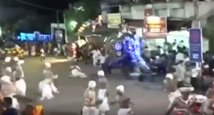 Elephant run amok in religious festival