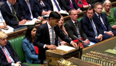 Chancellor Rishi Sunak delivering the budget