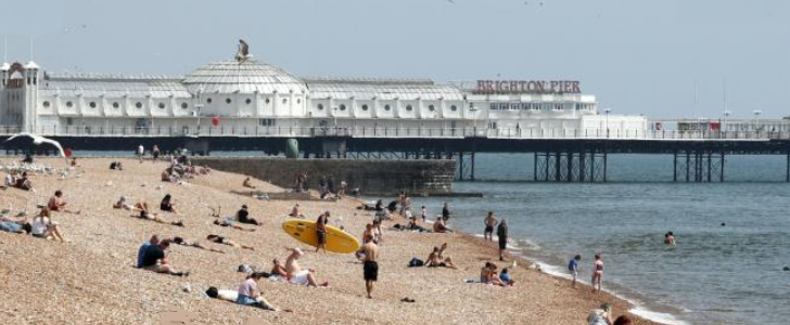 Bournemouth Beach on the weekend after relaxation of lockfown