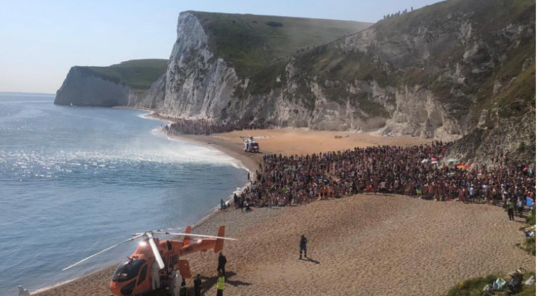 Crowds at Durdle Door beach Pic Purbeck Police