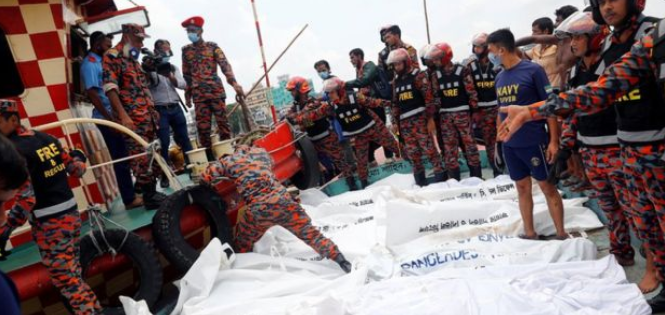 The recoverd bodies were taken to ferry terminal of Sadarghat