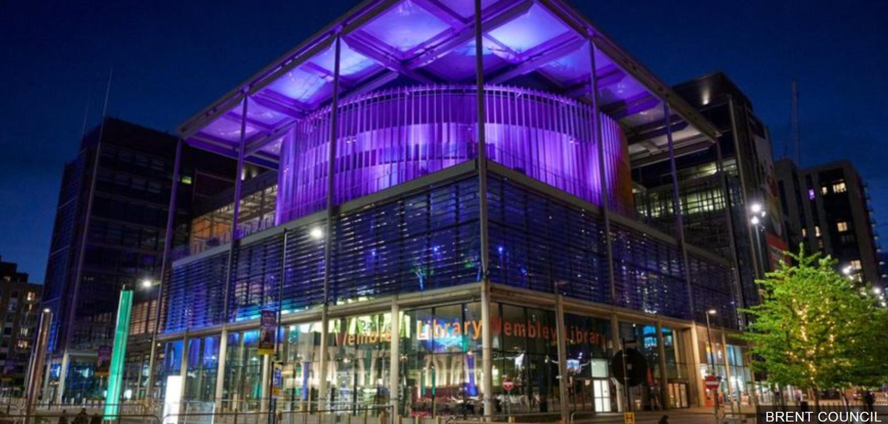 Brent City Council lit purple light