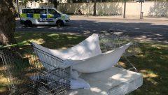 Makeshift bed at Hyde Park sleeping rough - R Nair