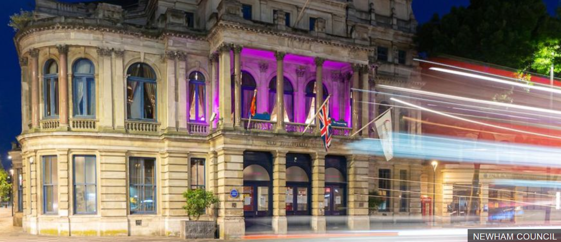 Newham Town Hall buildings and offices were turned purple to remember George Floyd.