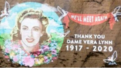 Dame Vera Lynn image projected on White cliffs
