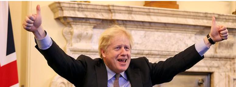 Boris Johnson hailing Brexit deal