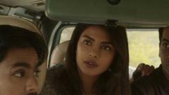 Balram, Pinky and Ashok in car ride