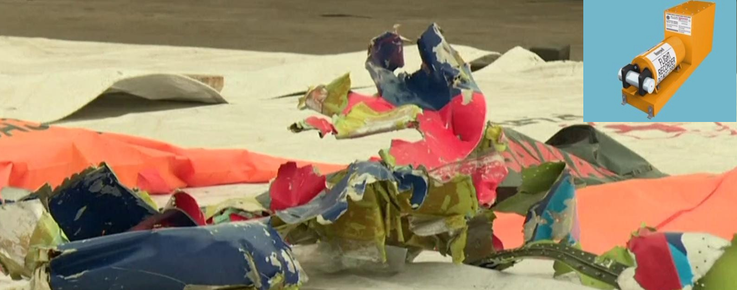 Black box and debris recovered from the wreckage of 737-500 plane which crashed in to Java sea