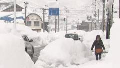 Snowstroms hit Japan