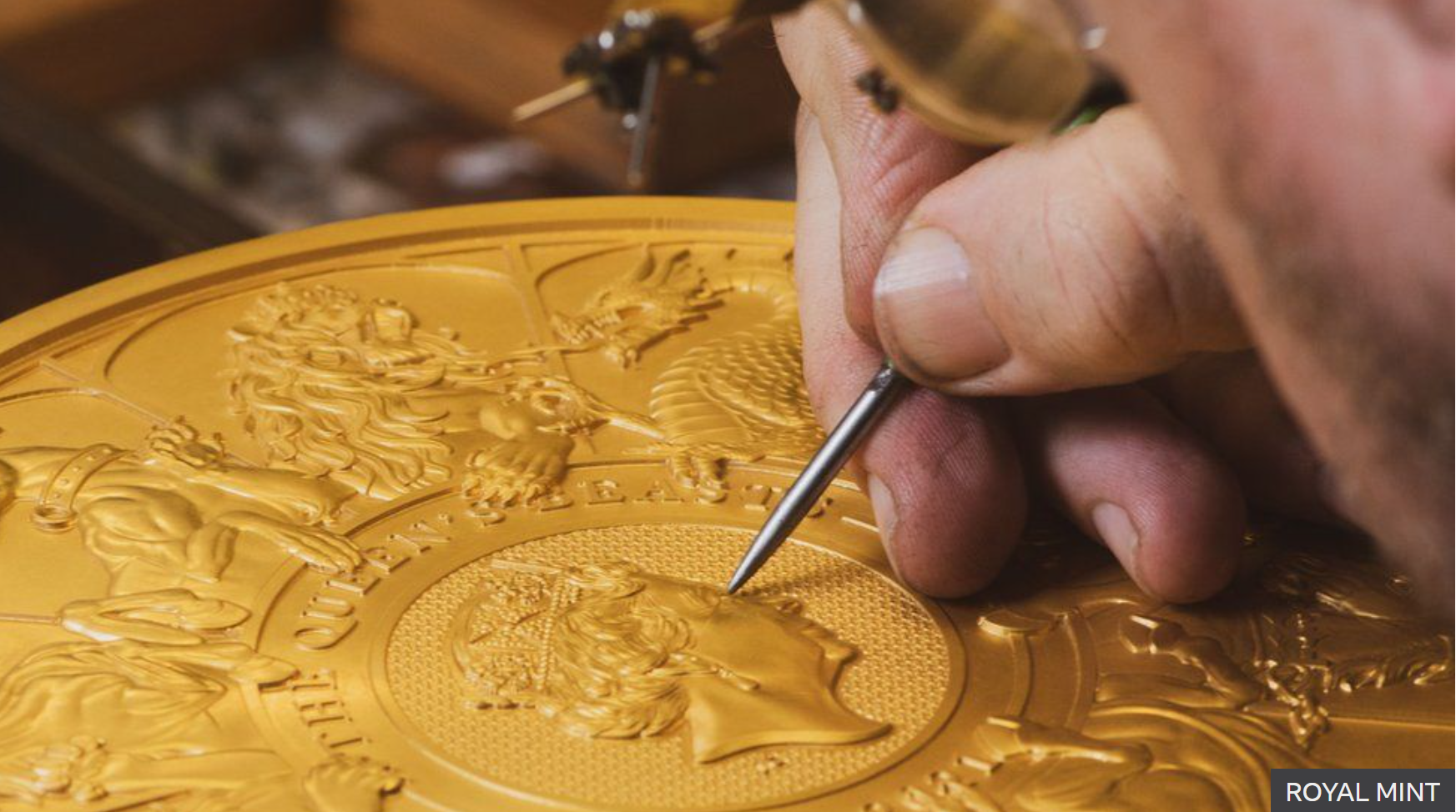 Gold coin created by hand