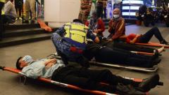 Injured passengers beign treated after Metro crash in Kuala Lumpur