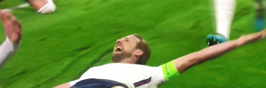 Harry Kane after scorin from a penatly kick England lead 2-1