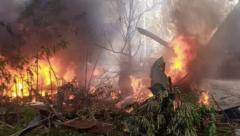Hercules C310 overshot the runway and caught fire